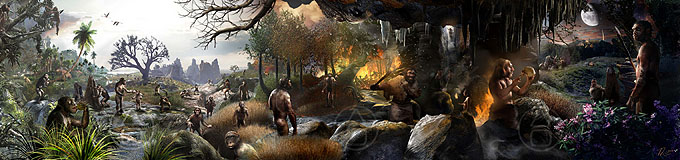 Hominin Origins Mural by Viktor Deak - A panorama of characters from the 7 million year evolution of our Homininae Subfamily